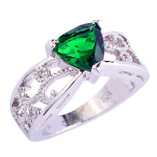 Xmas Perfect Classic Emerald Quartz Silver Ring Size 6 7 8 9 10 11 12 Free Ship