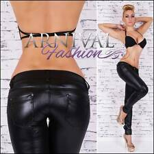 NEW SEXY BLACK WET LOOK PANTS for WOMEN 4 6 8 10 SKINNY LEATHER HOTPANTS petite