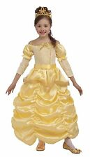 Girls Belle Costume Deluxe Yellow Princess Fancy Dress Ball Gown Childs Kids NEW