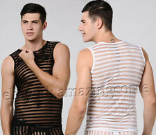 Sexy Men See-through Mesh Tank Top Underwear Stripe Transparent T-Shirt Vest M~X