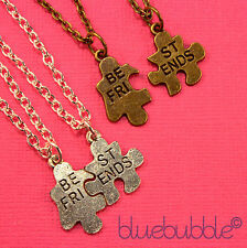 2 x FUNKY BEST FRIENDS JIGSAW NECKLACES SWEET VINTAGE CUTE FUN BESTIES GIFT BFF