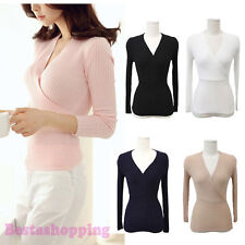 Sexy Womens Cross Deep V Slim Knit Top Career Wrap Long Sleeve Blouse T-shirt