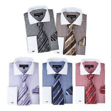 Men's Checker Dress Shirt  French Cuff With Tie and Hanky Style SG40