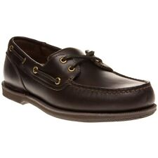 New Mens Rockport Brown Perth Leather Shoes Boat Lace Up