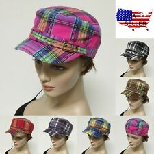 French Round Bill Multi Plaid Cadet Military Stretch Caps Hats One Size Fit Most