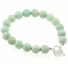 "925 Sterling Silver Lock Clasp Bracelet / Natural 10mm Amazonite Bead 7.5"" Long"