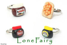 Polymer Clay Food Adjustable Silver Plated Rings Marmite Nutella Beans Chocolate