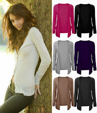 Ladies Boyfriend Cardigan Womens  Drop Pocket Long Sleeve Cardi Plus Sizes 8-20