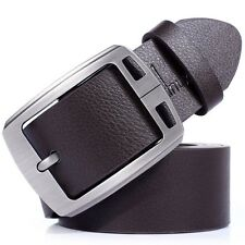 Fashion Mens Handmade Leather Pin Buckle Vintage Casual Dress Belt Black/Brown