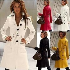 4 Style Women's Wool Blend Military Trench Coat Belted Long Coat Jacket Button