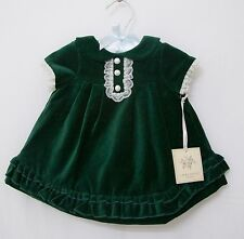Laura Ashley Baby Girls Traditional Holiday Christmas Green Velvet Dress with Pa