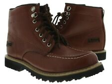 Mens brown leather zipper work shoes boots tough rubber oil resistant soles new