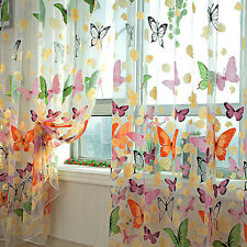 Romantic Butterfly Tulle Window Screens Door Balcony Curtain Panel Sheer Scarfs