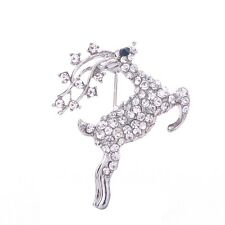 Bling Rhinestone Deer Animal Draught Sleigh Christmas Gift Bouquet Pin Brooch