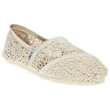 New Womens Toms White Natural Crochet Textile Shoes Canvas Slip On