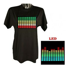 Sound Music Activated Led Light Flashing DJ rave Party concert T-SHIRT M-XXL