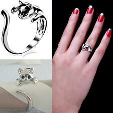 Jewelry Womens Cool SilverGoldBlack Plated Kitten Cat Ring With Crystal Eyes