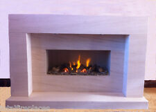 Serene Limestone Fireplace with Fire - Made in England