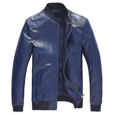 Real New Men's Slim Fit 100% Sheep Leather Stand Collar jacket Coat Size S~XL