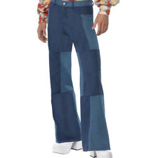 Mens Hippy Flares - 1960s / 60s Hippie Fancy Dress Denim Look Flared Trousers