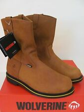 Mens WOLVERINE Foster STEEL TOE Pull On Wellington Brown Leather Work Boots