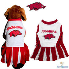 NCAA Pet Fan Gear ARKANSAS RAZORBACKS Cheerleader Outfit Dress for Dog Dogs