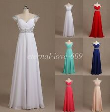 Stock New Chiffon Bridesmaid Evening Formal Party Ball Gown Prom Dress Size 6-18