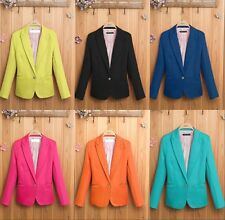 New Women's Color Blazer Jacket Suit Work Casual Basic Long Sleeve Candy Button
