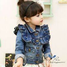 Hot Popular Kids Toddlers Clothes Girls Long Sleeve Jean Coat Outerwear Ages3-8Y