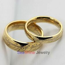 Couple Lovers Lord of the Ring Gold Stainless Steel Band Ring US Size 5-13