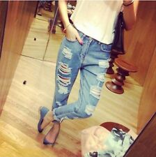 Girl's Ripped Jeans Blue White Trousers Retro denim Cat Scratch Hole Loose Pants
