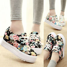 Women Thick Sole Sneakers Lace Up Floral Print Moccasins Flat Shoes Size 5-8