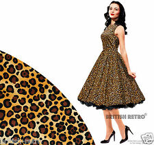 British Retro Leopard Print Swing Dress *Vintage 50s Rockabilly Party Pin-Up*