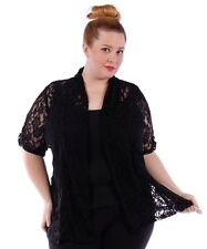 YUMMY Black Lace Open Cardigan~Plus Size~NWOT~4X 5X 6X~Short Sleeve Jacket Shrug