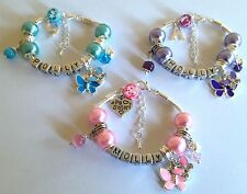 Personalised girls ANY NAME cute butterfly charm bracelet gift choose colour