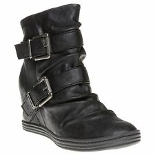 New Womens Blowfish Black Tugo Synthetic Boots Ankle Buckle Zip