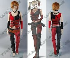 Batman Arkham Asylum City Harley Quinn Cosplay Costume Jester Outfit Suit Set