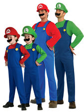 2014 Adult Kids Super Mario Luigi Bros Fancy Dress Plumber Game Costume