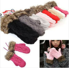 New Women Ragwool Winter thicking Mittens Knitted Warm Fur Halter Wrist Gloves