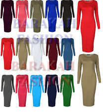 New Womens Ladies Stretchy Jersey Long Sleeve Midi Bodycon Dress UK Sizes 16-26