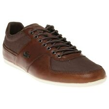 New Mens Lacoste Brown Taloire 6 Leather Trainers Statement Sneakers Lace Up