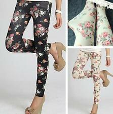 FA CA Women's Retro Rose Flower Print Leggings Tights Pants Elasticity New Style
