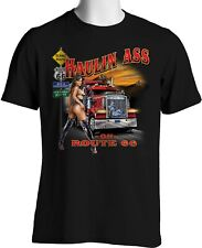Trucker T Shirt Haulin Ass Route 66 Big Rig Sexy Girl S to 3XL Big and Tall