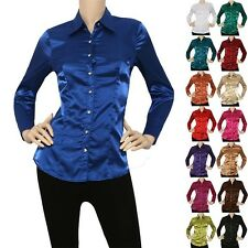 IRON PUPPY Women Satin Charmeuse L/Slv Button Down Solid Collar Shirts Blouse