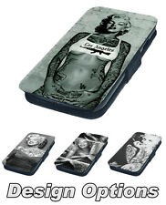 Alternative Tattooed Marilyn Monroe Printed Faux Leather Flip Phone Cover Case
