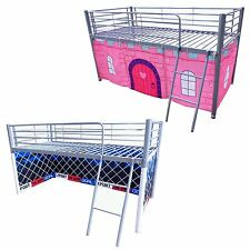 FoxHunter Childrens Metal Frame Mid Sleeper Cabin Bunk Bed Kids Tent Single 3FT