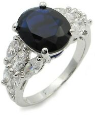 WOMEN'S SILVER TONE BLUE OVAL CUT & MARQUISE CUT CZ ENGAGEMENT RING SIZE 5, 6