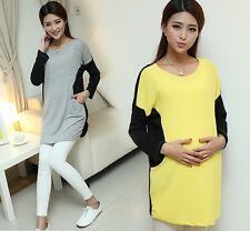 2014 new fashion spring and Autumn long sleeve 0-neck dress for pregnant women