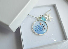 Frozen Quotes Pendant Necklace, Gift Box Supplied, Inspired, Anna, Elsa, Olaf