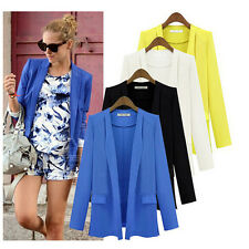 New Fashion Womens Ladies Open Front Long Sleeve Casual Work Thin Suit Blazer